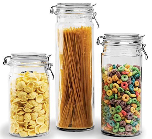 (Circleware Clip & Store Glass Canister Food Jars with Hermetic Preserving Lids, Set of 3, 32 oz, 42 oz, 64 oz,)