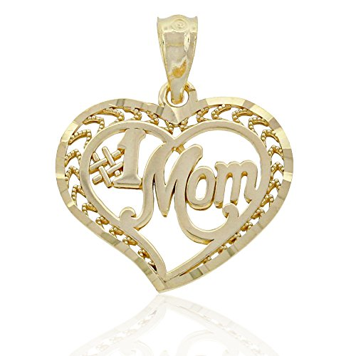 Charm America Gold #1 Mom Heart Charm - 10 Karat Solid Gold
