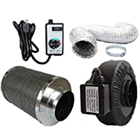 Powermaxx Premium Charcoal Carbon Filter with Inline Fan Combo and Speed Controller (16 feet Ducting, 4 Inch)