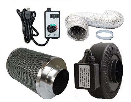 Powermaxx Premium Charcoal Carbon Filter with Inline Fan Combo and Speed Controller (16 feet Ducting, 4 Inch) (Charcoal Inline Filter compare prices)