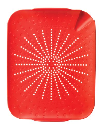 (New Soda 6002RD Sinkstation Flat Colander, Red, BPA Free,)