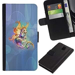 KingStore / Leather Etui en cuir / Samsung Galaxy Note 3 III / Animal criatura cuento de hadas colorido arte del unicornio