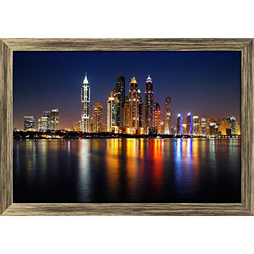 ArtzFolio Dubai Marina at Dusk, UAE Canvas Painting Antique Golden Frame 8.3 x 6inch