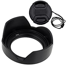 Fotodiox Type 2 Flower Lens Hood with Front Filter Thread, 52mm, for Nikon D300, D3100, D3200, D5000, D5100, D5200, with 18-55mm f/3.5-5.6G DX Lens, replaces HB-33, FREE Front Cap