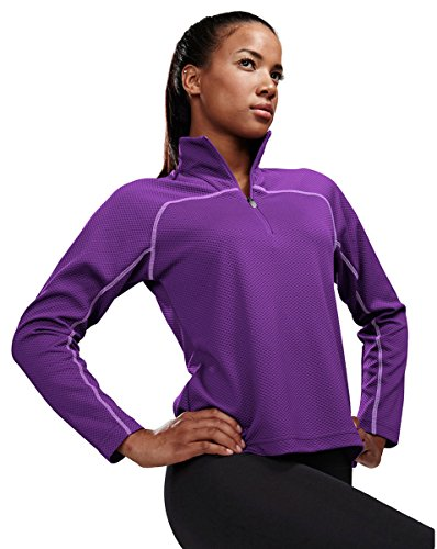 Tri-Mountain Performance 636 Womens 100% Polyester Jaquard UC 1/4 Zip LS Knit Pullover Shirt - Purple/Lavender - - Ls Pullover Knit