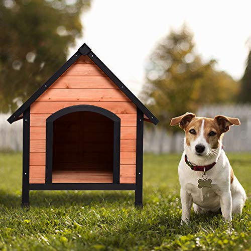 Tangkula Pet Dog House Outdoor Weather Waterproof Pet House Wood Pet Kennel Natural Wooden Dog House Home with Reddish Brown Roof 3 Size (S/M/L) (Small)