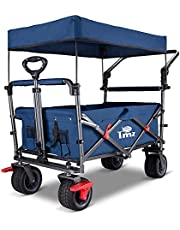 TMZ Utility Folding Wagon, Collapsible Garden Cart, Folding Trolley Cart, for Shopping, Camping, and Outdoor Activities with Canopy, Push Handle and Brakes