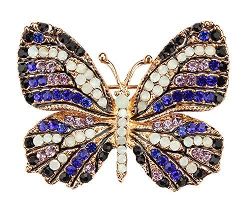 Gyn&Joy Blue Purple Rhinestone Crystal Butterfly Brooch Pin Golden Tone White Opal BZ192