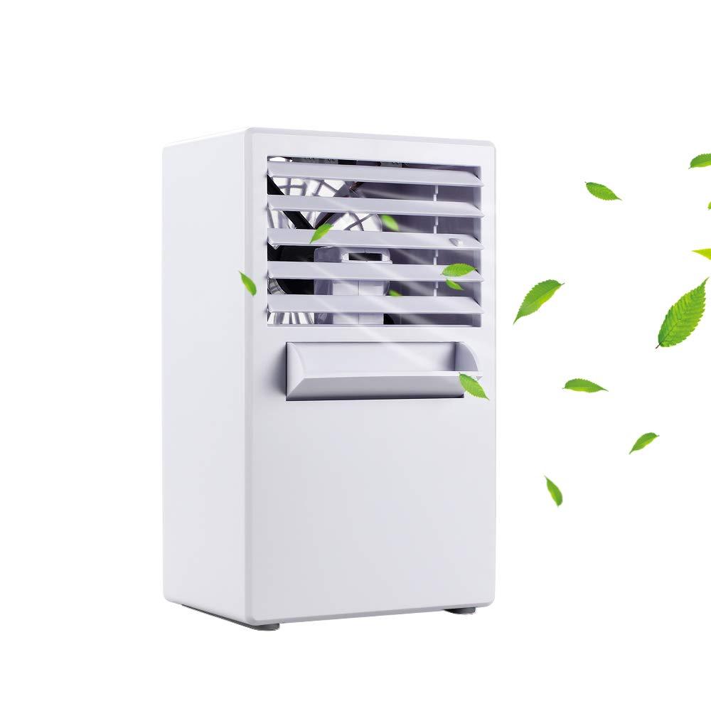 YOUDirect Personal Mini Air Conditioner Fan 9.5-inch - Small Desktop Fan Mini Evaporative Air Cooler Cooling Fan (White)