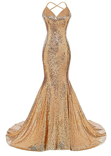(DYS Women's Sequins Mermaid Prom Dress Spaghetti Straps V Neck Backless Gowns Dark Gold US 16Plus)