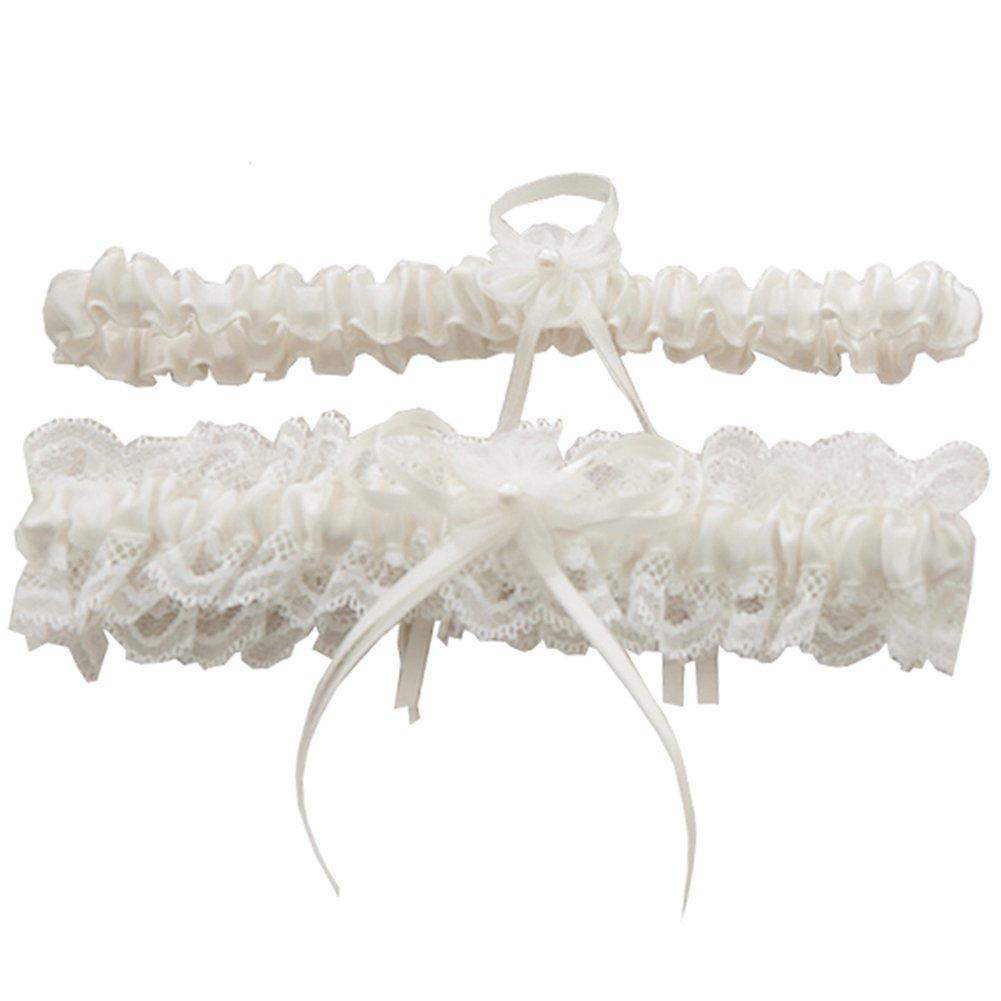 Rimobul Lace Wedding Garters with Toss Away - Set of 2 (Cream)