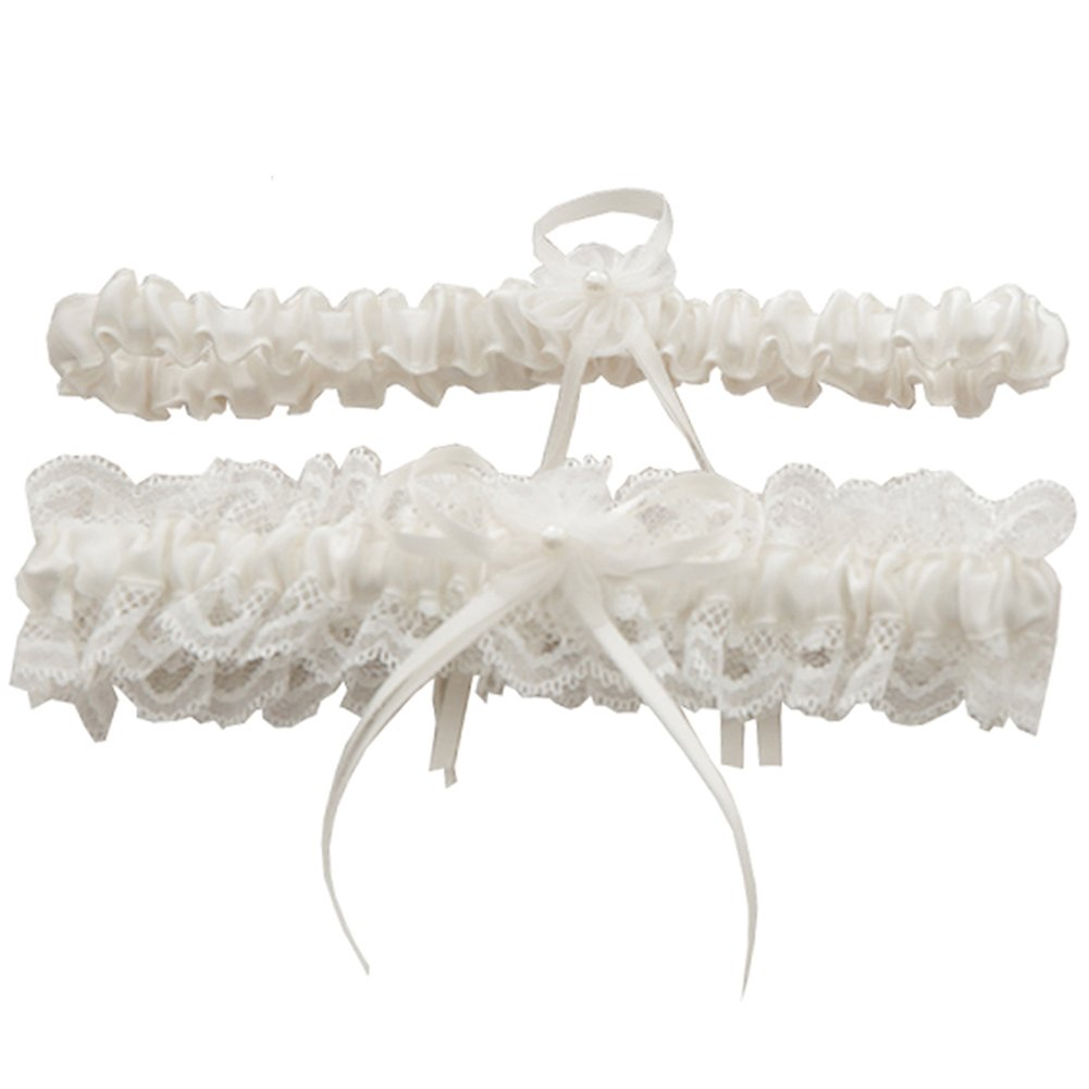 Rimobul Lace Wedding Garters with Toss Away - Set of 2 (Cream) product image