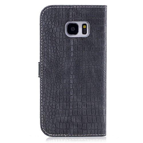 Funda Samsung Galaxy S7 Edge, Alfort Carcasa Samsung S7 Edge Cover Case Imitación de Piel de Cocodrilo la Cubierta del Cuero Moda Cascara con Soporte Plegable y Ranura de Tarjeta ( Oro ) Gris