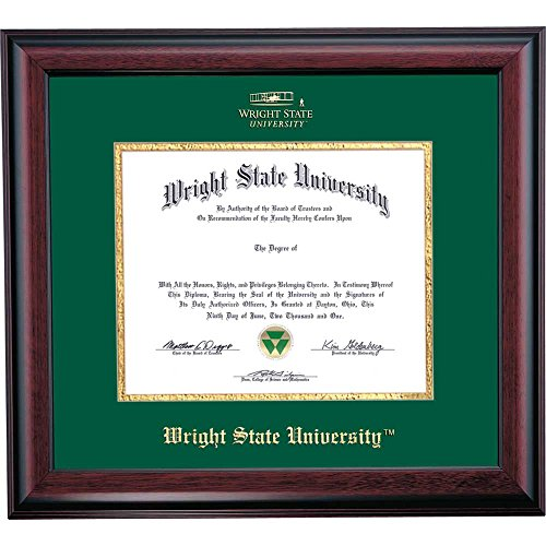 Campus Linens Wright State Raiders Diploma Frame Green Gold Matting Embossed Seal