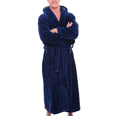 5478528eafd72 iYmitz ☯ Peignoir de Luxe Robe de Chambre en Microfibre avec Capuche et  Poches pour Femme