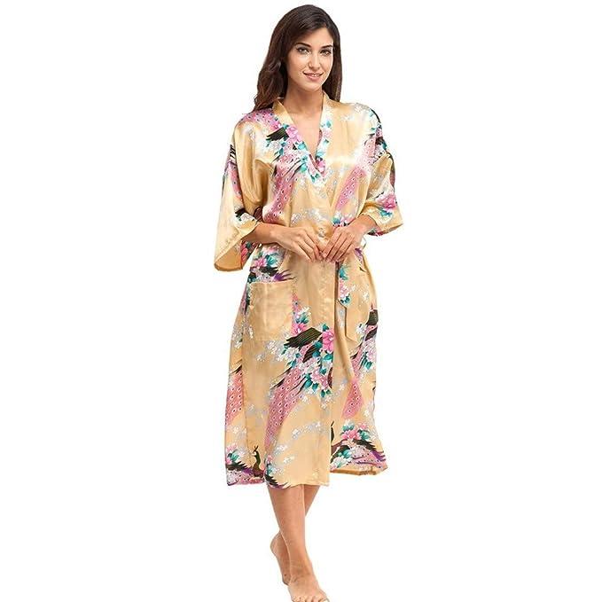 Nuevas Mujeres MáS El TamañO De SimulacióN De Seda Vestido De Bata De BañO Ropa Interior Ropa De Dormir Impresa Kimono Peacock CamisóN Resplend: Amazon.es: ...