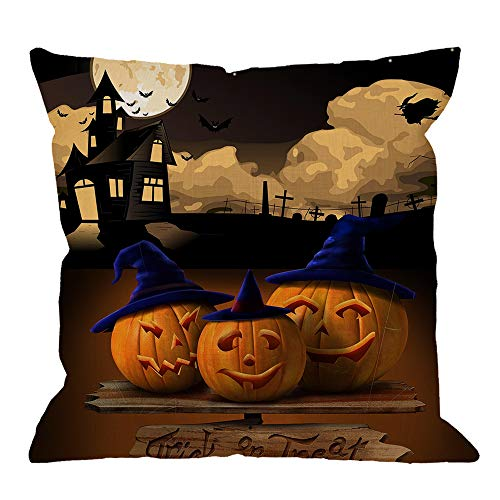 HGOD DESIGNS Halloween Pillow Cushion Cover,Trick or Treat Pumpkin Castle and Moon Cotton Linen Cushion Covers Home Decorative Throw Pillowcases 18x18inch,Orange,Black -