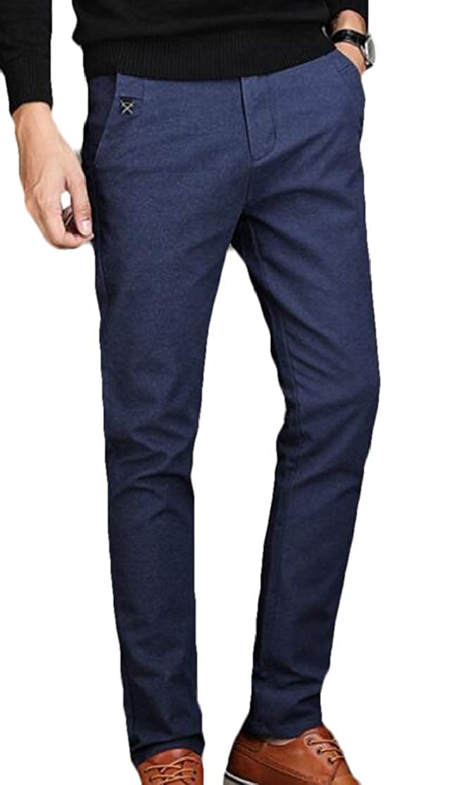 KLJR Men Casual Stretchy Straight Fit Office Solid Pants Trousers