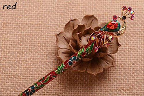 sonne Enamel Crystal Peacock Hair Stick Hairpin Chinese Style Handmade Hair Accessories ()
