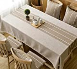 WFLJL Tablecloth Japanese Style Cotton And Linen Dining Table Rectangle Coffee Table Brown Add Lace 130X240cm