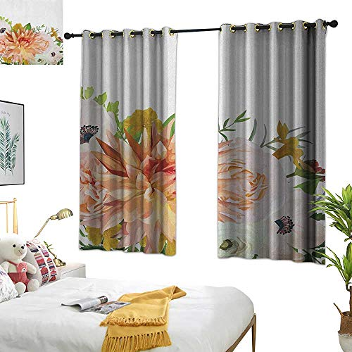 (Warm Family lace Curtains Anemone Flower,Garden Rose Dahlia Forest Meadow Bedding Plants Leaves Mix, Salmon Fern Green Khaki 84