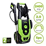 PowRyte Elite 2400 PSI 2.0 GPM Brushless Induction Motor Electric High Pressure Washer, Portable Power Washer with Hose Reel, 5 Quick-Connect Spray Tips and Onboard Detergent Tank