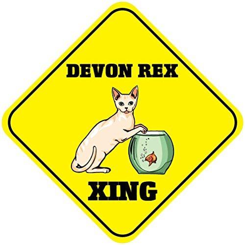 Gloria Yerkes Devon Rex Cat Xing Metal Aluminum Novelty Sign 12x12 (Devon Hanging)