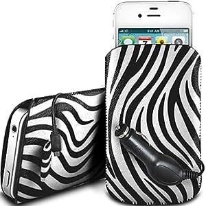N4U Online - Samsung Galaxy Ace 4 protección PU Zebra Diseño deslizamiento cordón tirador de la cremallera en la caja de la bolsa con cierre rápido y CE Cargador de coche - Blanco