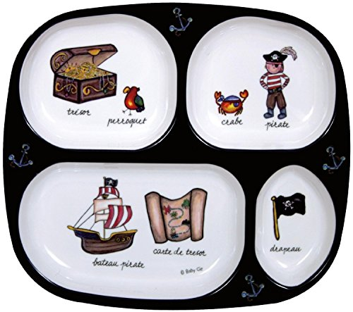 Baby Cie TV Tray 4 part divided tray 8 with French Wording and Theme, - Part Serving Tray Divided