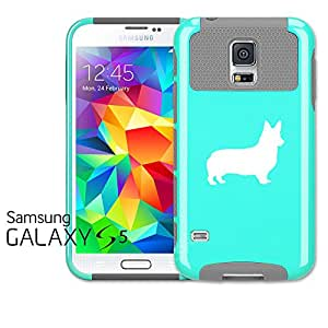 Samsung Galaxy S5 Shockproof Impact Hard Case Cover Corgi (Teal-Grey)