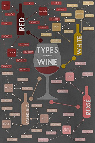 Types of Wine Infographic Collectible Art Print, Wall Decor Travel Poster