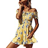 Fashion Jumpsuit,Women Floral Print One-Piece Ruffled Off Shoulder Summer Holiday Mini Playsuits(Yellow,S)