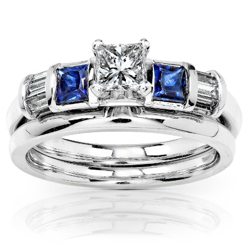Amazon Com Blue Sapphire Diamond Wedding Rings Set 3 4 Carat Ctw