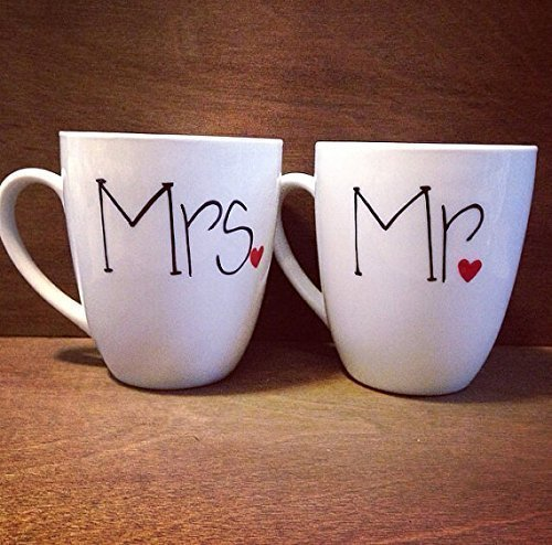 Mr and Mrs Hand Painted Coffee Mugs personalized with wedding date