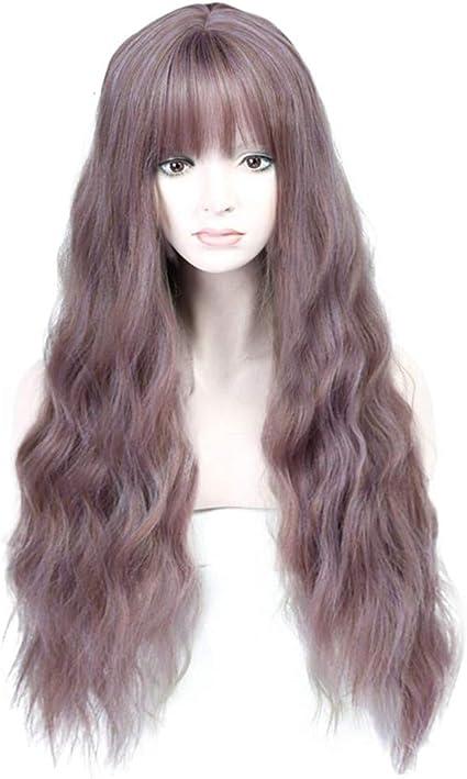 Peluca larga mezcla lila para mujeres, pelucas sintéticas resistentes al calor y confiadas para mujeres: Amazon.es: Belleza