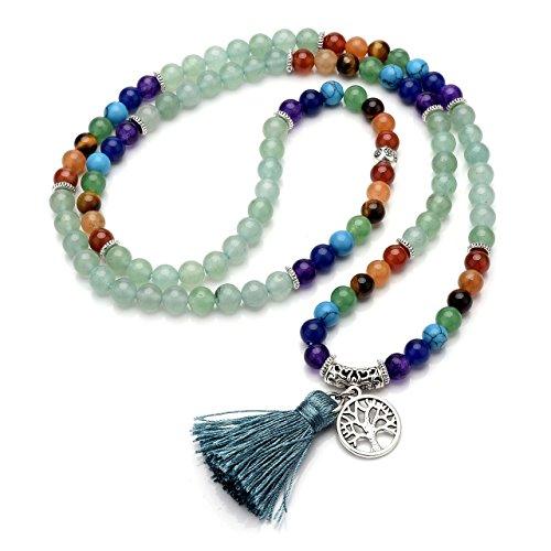 Jovivi 6mm Natural 7 Chakra Healing Crystal Gemstone Buddhist Prayer 108 Beads Tibetan Mala Bracelet Necklace by Jovivi (Image #5)