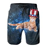 Men'sFunny Patriotic Cat With American Flag Hat Comfortable Cotton Swimming Short Boardshort Beach Pants