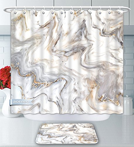 - Aoreeo Bathroom Two-Piece Set Marble Ink Texture Background Pattern Can Used Wallpaper Skin Wall Tile Luxurious Shower Curtain Bath Rug Set, 71