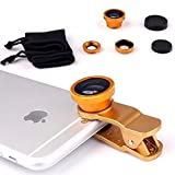 Livestream  - Universal Clip 3 in 1 Cell Phone Camera Lens Kit - Fish Eye Lens / 2 in 1 Macro Lens & Wide Angle Lens. Get Enhanced View While Live Streaming. (Gold)