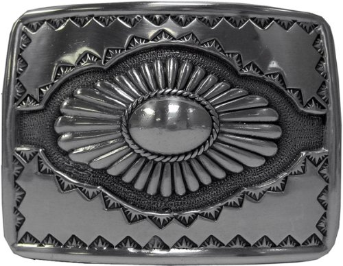 Antique Sterling Silver Finish Southwestern Belt Buckle
