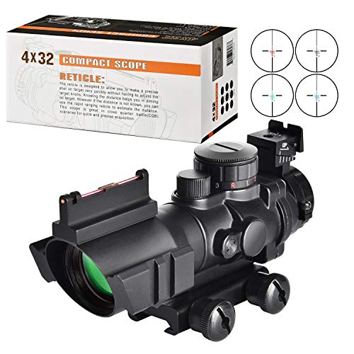 (MidTen Tactical Rifle Scope 4x32 Illuminated Reticle Hunting Guns Scope with Mount for 20mm Rail)