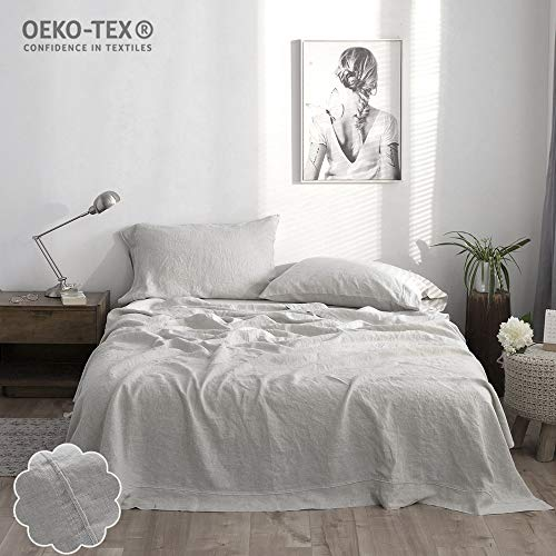 Simple&Opulence 100% Linen Sheet Set Full Embroidery Grey (1 Flat Sheet,1 Fitted Sheet,2 Pillowcases)