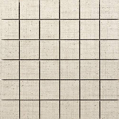 Mosaic Flooring Canvas - Emser Tile F72CANVAN1212MO Canvas - Square Mosaic Floor and Wall Tile - Textured Fabric Visual