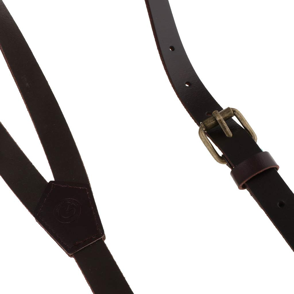 D DOLITY Braces Unisex Slim Mens Genuine Leather Y-Back Adjustable Suspenders Clip On