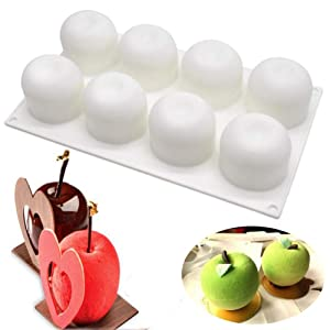 SAKOLLA Apple Shape Silicone Mousse Cake Mold, Chocolate Desserts Molds,French Dessert Pastry Baking Bakeware