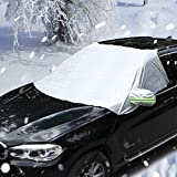 "Windshield Snow Cover PowerTiger Car Windshield Cover Snow Frost Ice Mirror Cover All Weather Auto Sun Shade Cars Trucks Vans (93.7""x 64.3"")"