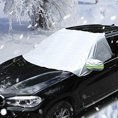Windshield Snow Cover PowerTiger Car Windshield Cover for Snow Frost Ice with Mirror Cover All Weather Auto Sun Shade for Cars Trucks Vans (93.7x 64.3)