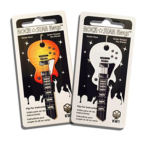 Set of 2 Sunburst and White Wide Body LP Shaped Guitar Keys (KW1/KW11)