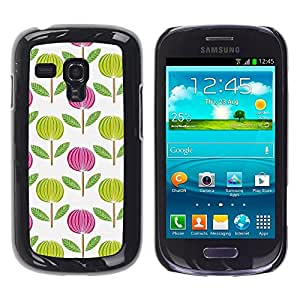 TopCaseStore / la caja del caucho duro de la cubierta de protección de la piel - Pink White Green Wallpaper - Samsung Galaxy S3 MINI NOT REGULAR! I8190 I8190N
