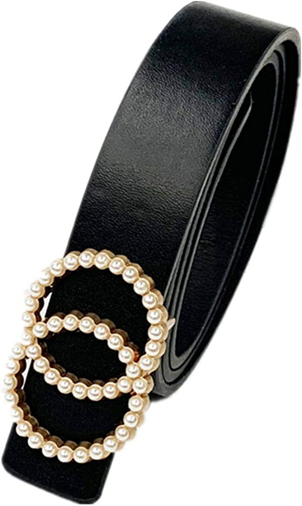 Fashion Black Leather Belt for Women Width 3.8CM with Pearl Buckle